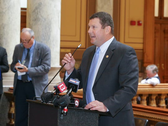 State Representative Jim Lucas speaks during a medical marijuana press conference held in the Indiana State House on Wednesday, Jan. 3, 2018. Lucas has proposed to file House Bill 1106 to legalize medical marijuana in Indiana.