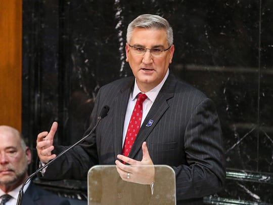 """Gov. Eric Holcomb delivers his second State of the State address as Indiana Governor, at the Indiana Statehouse, Indianapolis, Tuesday, Jan. 9, 2018. Holcomb cited re-training Indiana workers as his administration's top priority, in order to fill an estimated 85,000 unfilled jobs. Holcomb called it """"the defining issue of the decade"""" and set a goal for the coming year to educate or retrain 55,000 Hoosiers who don't have a high school diploma or didn't finish college."""