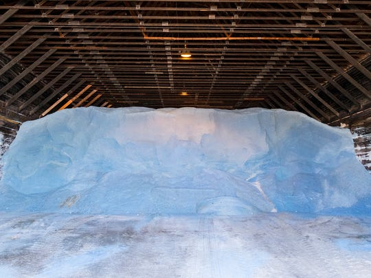 Salt fills a barn at the St. Clair County Road Commission