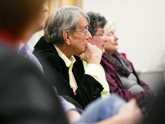 Perrydale resident Dan Vanotten listens as a wastewater