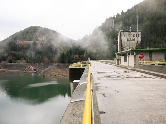 The Detroit Dam on January 12, 2018. The U.S. Army Corps of Engineers has proposed building a 300-foot tower at the dam to improve water temperature and fish passage for salmon and steelhead.