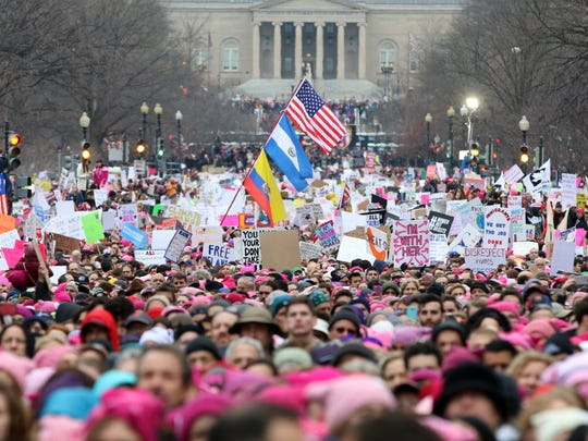 Women fill 4th Street for the Women's March on Washington on Jan. 21, 2017, one day after the inauguration of Donald J. Trump.