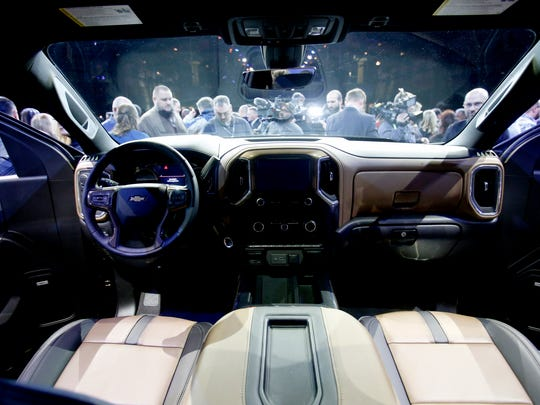 The interior of the 2019 Chevrolet Silverado that was revealed at Eastern Market in Detroit on Saturday Jan. 13, 2018.