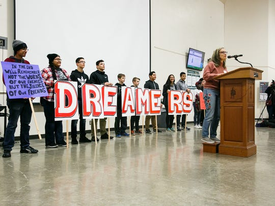 Salem-Keizer Superintendent Christy Perry speaks at a Martin Luther King Jr. Day rally on Monday, January 15, 2018, at McKay High School. About 300 people showed up the event, which began with a rally at McKay followed by a march along Lancaster Drive.