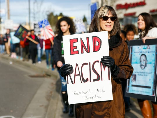 Dawn Werlinger participates in a Martin Luther King