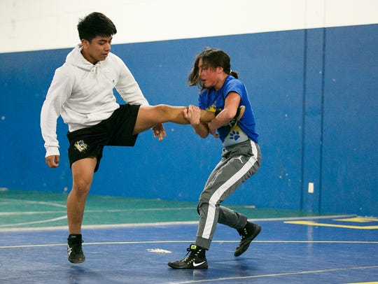 Gervais wrestler Alexys Zepeda spars with teammate