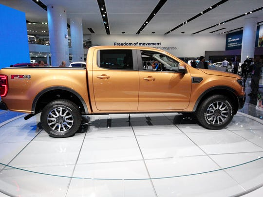 The 2019 Ford Ranger is seen on the floor during the