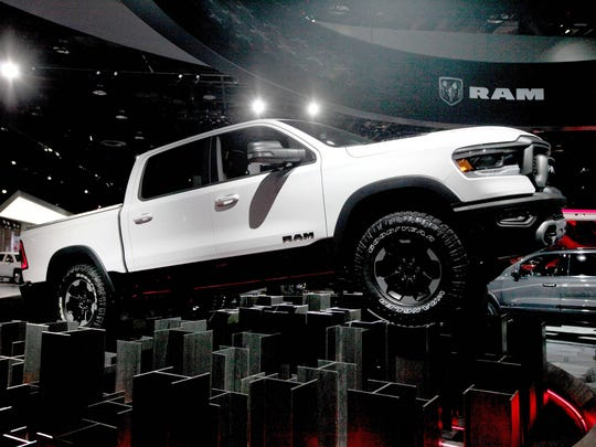 The 2019 Ram 1500 is seen on the floor during the North American International Auto Show on Tuesday, Jan. 16, 2018 in Detroit.