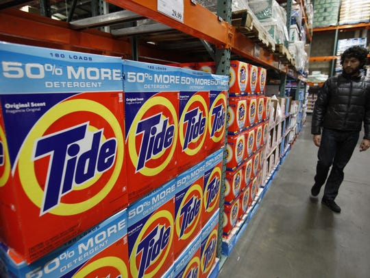 In this photo made Dec. 8, 2009, Tide Detergent, a Procter & Gamble product, is seen on display at Costco in Mountain View, Calif.