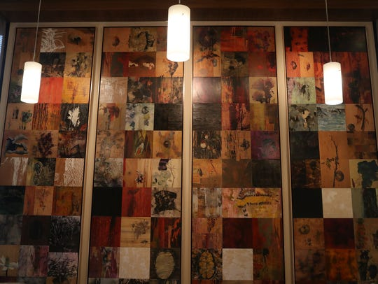 Some of the art featured in the lobby at the Sheraton
