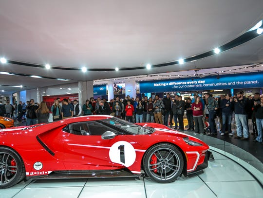 The Ford Gt Is A Big Attraction During The First Public Day Of The North American