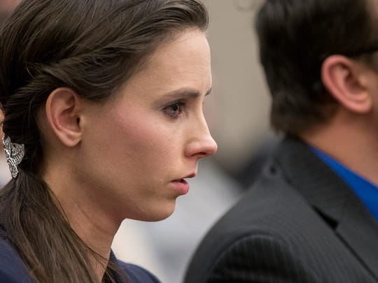 Rachael Denhollander becomes emotional during Kaylee Lorincz's impact statement at the final day of the sentencing hearing for former USA Gymnastics doctor Larry Nassar, inside Ingham County Circuit Court in Lansing, Mich., Wednesday, Jan. 24, 2018.