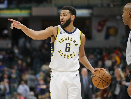 Indiana Pacers guard Cory Joseph (6) runs out the clock