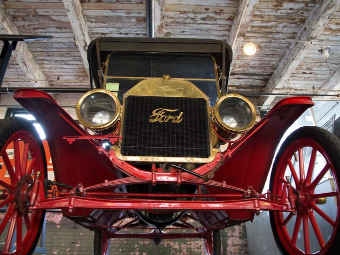 This 1909 Ford Model T Touring is on display at The