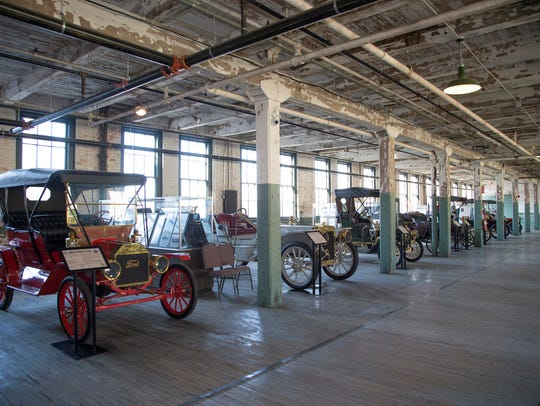 This 1909 Ford Model T Touring, left, is on display