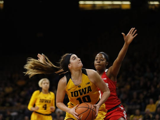 Megan Gustafson looks for her shot in Thursday's win over Ohio State.