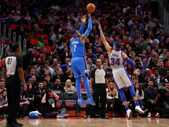 Oklahoma City Thunder forward Carmelo Anthony (7) attempts a shot against Detroit Pistons forward Tobias Harris (34) during the first quarter at Little Caesars Arena.