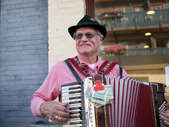 Richard Moles, 80, of Silverton, plays his accordion