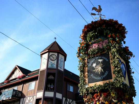 The Glockenspiel and the Die FruchtsŠule at the Mt. Angel Oktoberfest in Mt. Angel, Ore., on Friday, Sept. 15, 2017.