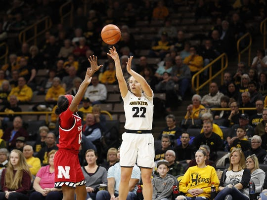 Kathleen Doyle shoots during Sunday's loss vs. Nebraska.