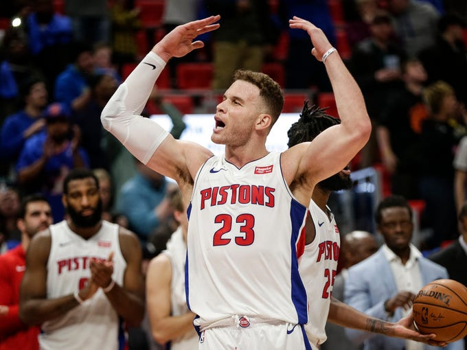 Detroit Pistons forward Blake Griffin cheers the crowd