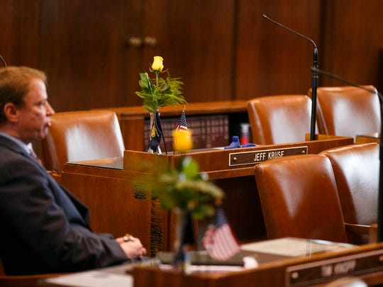 Senator Jeff Kruse's desk is empty during a senate session on Wednesday, February 7, 2018, at the Oregon State Capitol. An independent investigation released Tuesday night concluded that Kruse engaged in a longstanding pattern of sexually harassment.