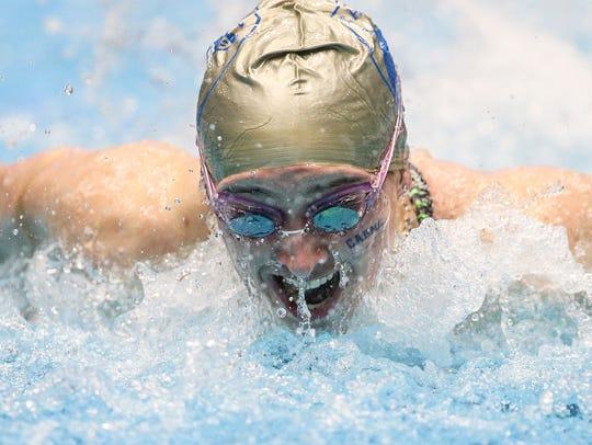 Carmel's Trude Rothrock swam the 100 yard butterfly