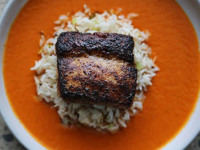 Hibachi-blackened mahi mahi with Basmati rice and callaloo