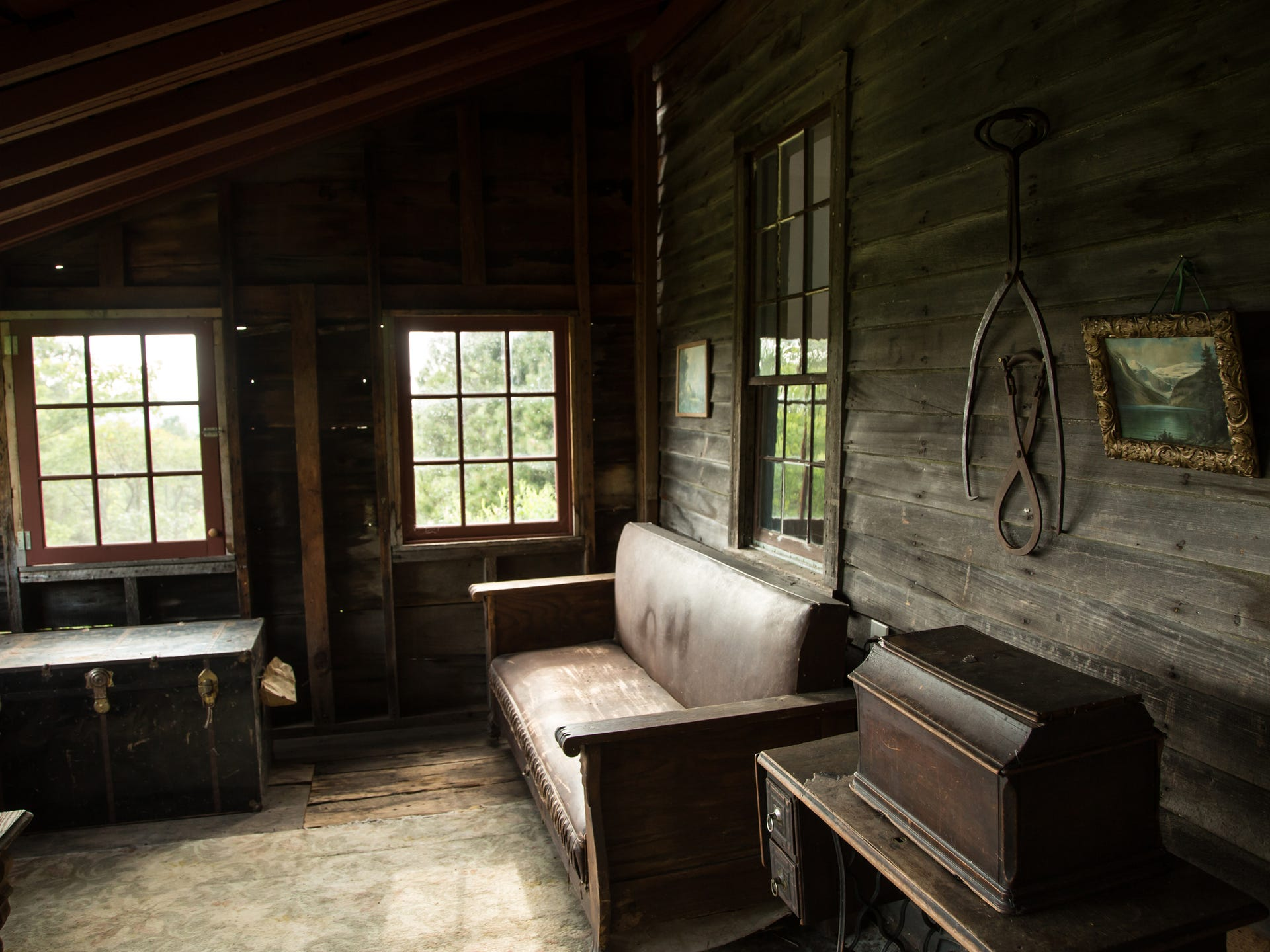The interior of an abandoned miner's shack in the Upper