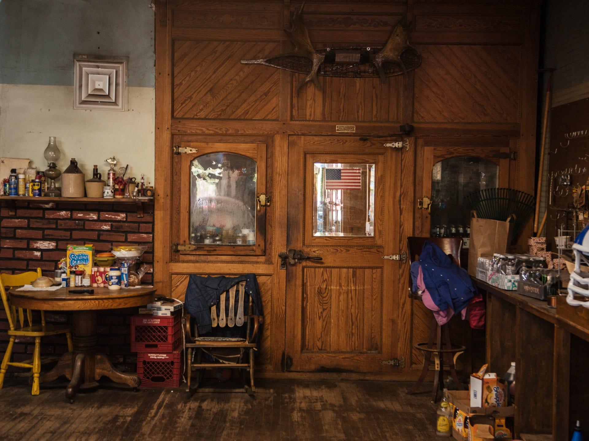 An antique, walk-in cooler inside the Phoenix Store