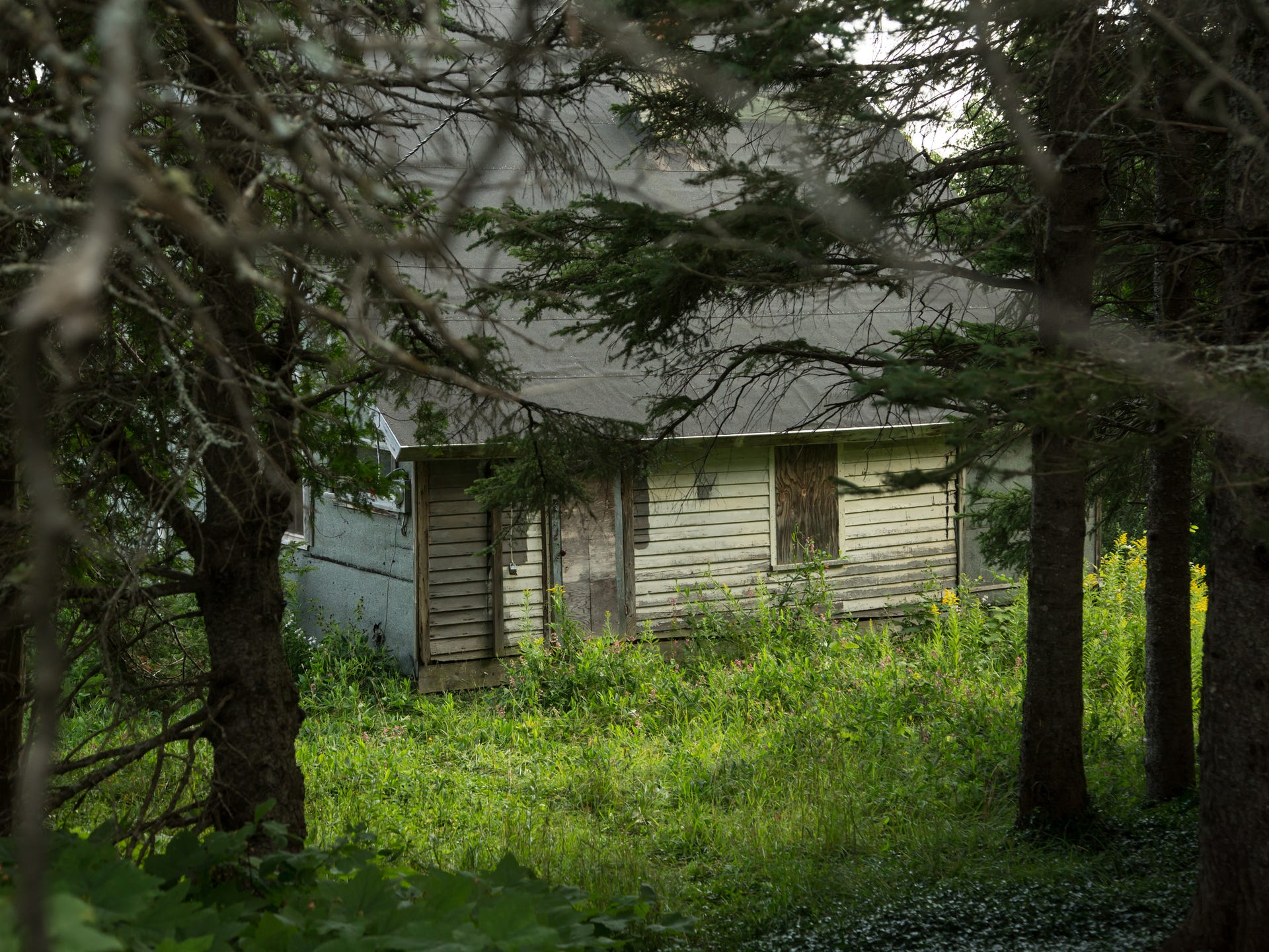 An abandoned miner's shack in the U.P. ghost town of