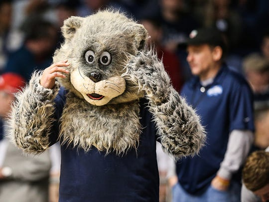 "Ken Richman, 74, wears a cat costume to cheer on Tyler ""Big Cat"" Wideman (4) for Butler's senior night game against Creighton at Hinkle Fieldhouse in Indianapolis, Tuesday, Feb. 20, 2018. Butler won, 93-70."