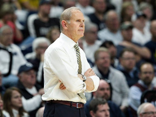 Michigan Wolverines head coach John Beilein looks on from the bench during the first half against the Penn State Nittany Lions at Bryce Jordan Center on Wednesday, Feb. 21, 2018.