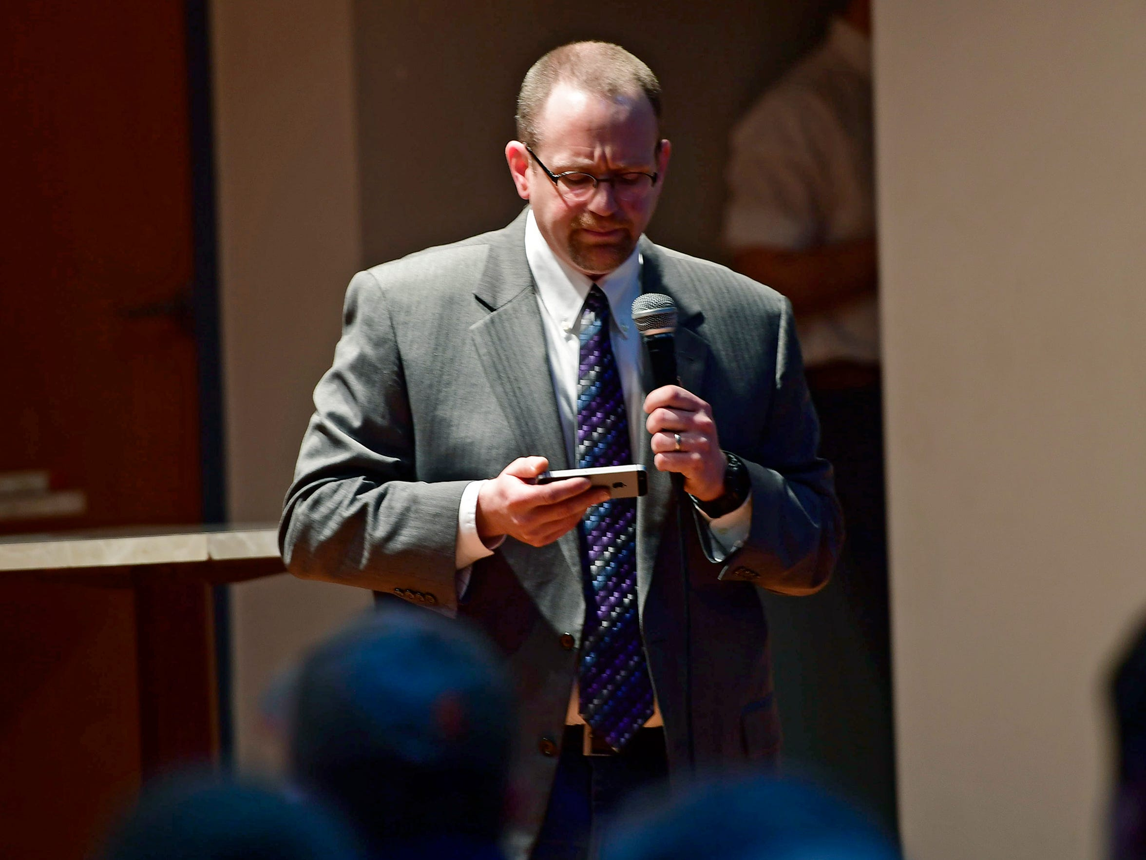 In this photo from Feb. 22, Matt Menges, an attorney in York, speaks about concealed carry laws during a seminar.