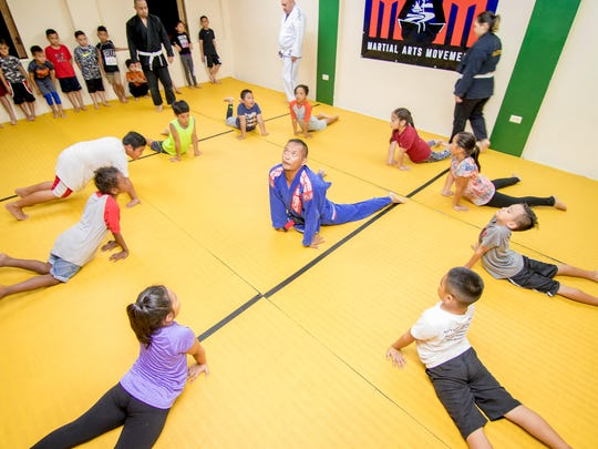 "Jesse ""Spiderman"" Taitano, talking to students martial art techniques during the Martial Arts Movement class held at Agana Heights Community Center on Feb. 22, 2018."