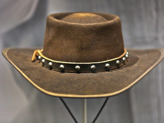 """This hat was worn by Jamie Foxx as Django, in the Columbia Pictures 2012 movie, """"Django Unchained,"""" and is seen in The Reel West exhibit at the Eiteljorg Museum, Thursday, March 1, 2018.  The exhibit, which runs Mar. 3, 2018 to Feb. 3, 2019, looks at """"morality, diversity, and American identity,"""" seen through the Western film genre, Hollywood movies, and television shows."""