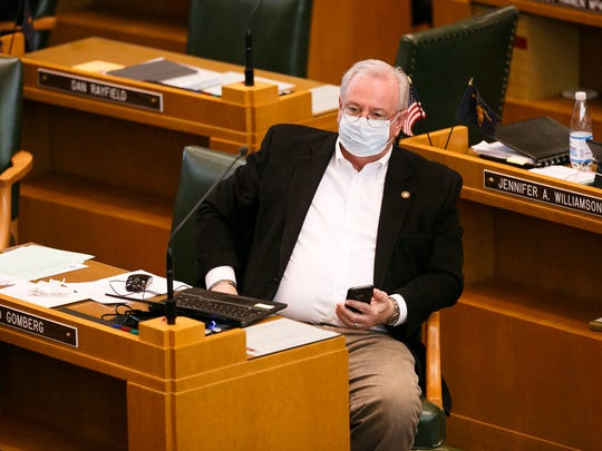 Rep. David Gomberg, D-Central Coast, listens as lawmakers work to close out the short legislative session on Saturday, March 3, 2018.