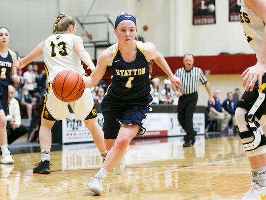 Stayton's Alli Nyquist drives towards the basket in