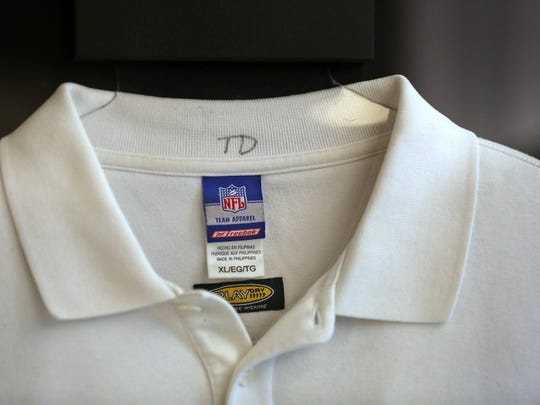 Former Colts Coach Tony Dungy's shirt is seen in the