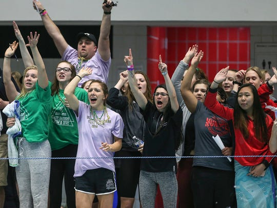 Carmel fans and swimmers cheer their team during IHSAA