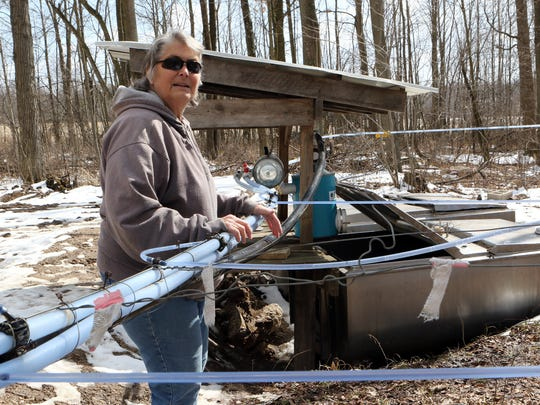 Barbara Drewry-Zimmerman checks the tanks holding sap collected from vacuum lines running between tapped maple trees in one of the woods on Drewry Farms on March 12.