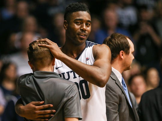 Butler Bulldogs forward Kelan Martin (30) after coming off the court for his final time at home in the regular season, during second half action between Butler and Creighton at Hinkle Fieldhouse in Indianapolis, Tuesday, Feb. 20, 2018. Butler won on senior night, 93-70.