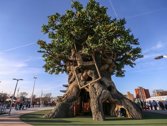 A massive tree house is part of the new Riley Children's