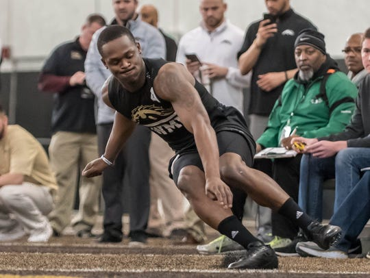 WMU's Darius Phillips during an agility drill on WMU's
