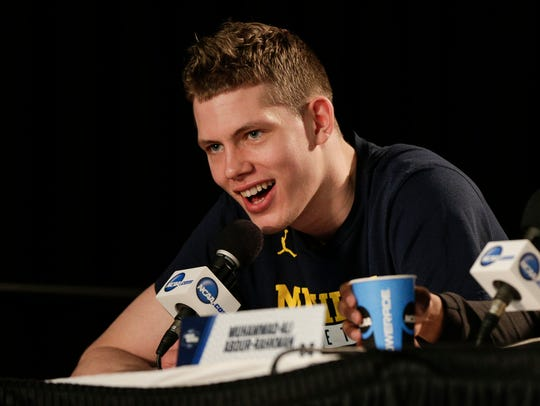 Michigan's Moritz Wagner answers a question during