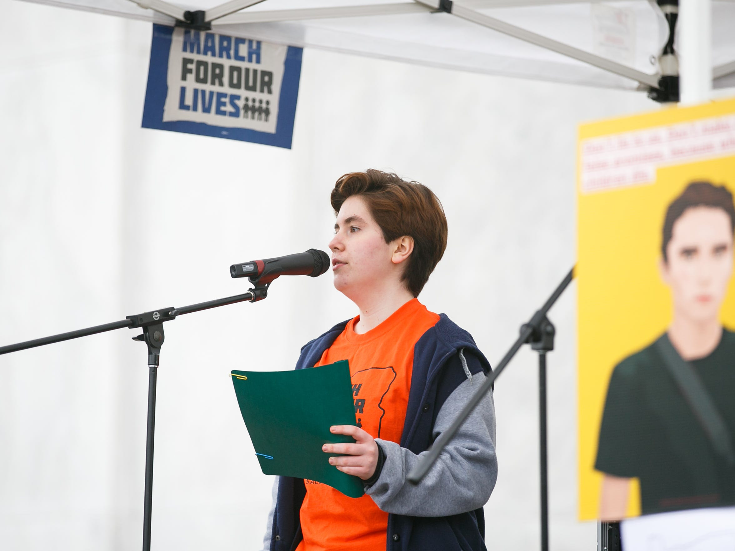Julian Holman speaks at the March for Our Lives rally on Saturday, March 24, 2018, at the Oregon State Capitol. Holman called on participants to fight for the protection of lesbian, gay, bisexual and transgender individuals in the context of gun violence.