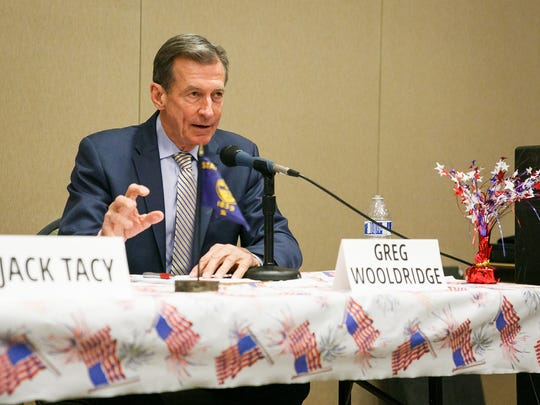 Republican gubernatorial candidate Greg Wooldridge answers questions at a debate hosted by Oregon Women for Trump on Saturday, March 24, 2018, at the Keizer Community Center. A former Navy, Wooldridge said that it was a Òlack of courageous leadershipÓ and an inability to inspire from the governorÕs office that is hurting Oregon.