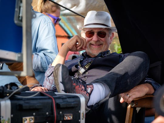 "Steven Spielberg manages to smile through the challenges on the set of ""Ready Player One."""