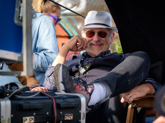 """Steven Spielberg manages to smile through the challenges on the set of """"Ready Player One."""""""