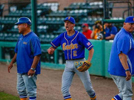 Exeter's Jaykob Acosta gets fired up after successfully